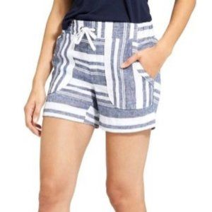 Athleta Bold Linen Blue White Striped Shorts 4